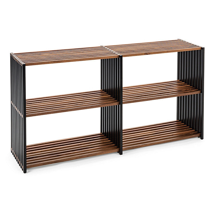 Walnut and Beechwood Folding Shelving 2 x 2 shelves Black