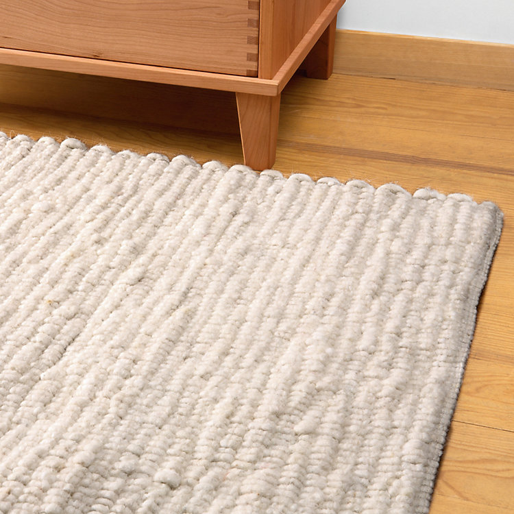 White Polled Heath Woven Carpet 70 x 140 cm