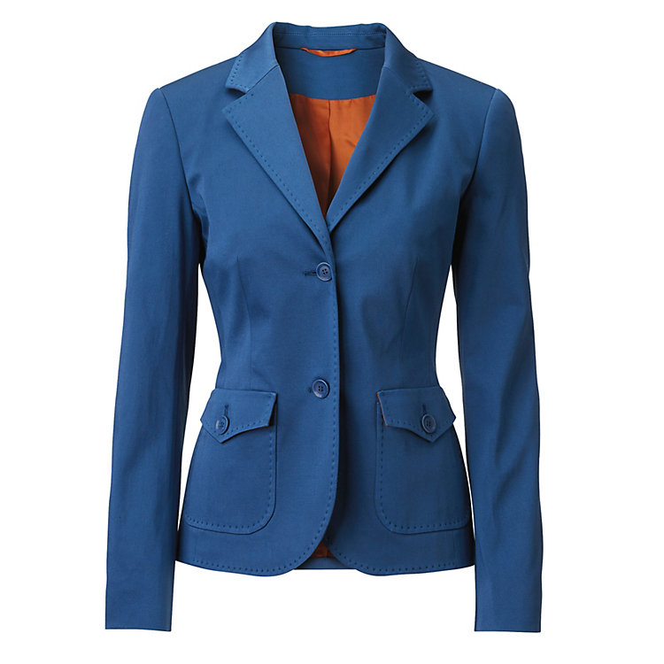 Women's Blazer Made of Cotton, Medium Blue