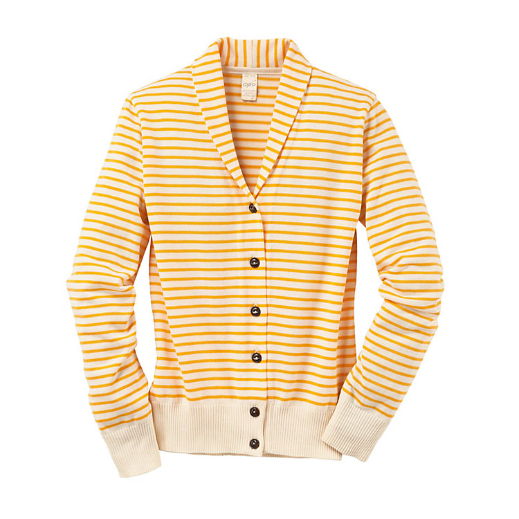 Women's Cardigan with a Shawl Collar Yellow-Cream White