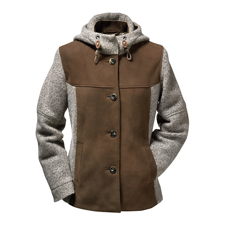 Women's Deer Leather and Boiled Wool Jacket Brown