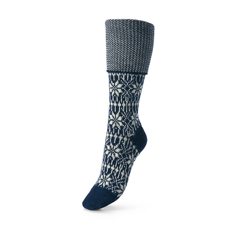 Women's Knee-Length Socks with Jacquard Pattern Dark Blue