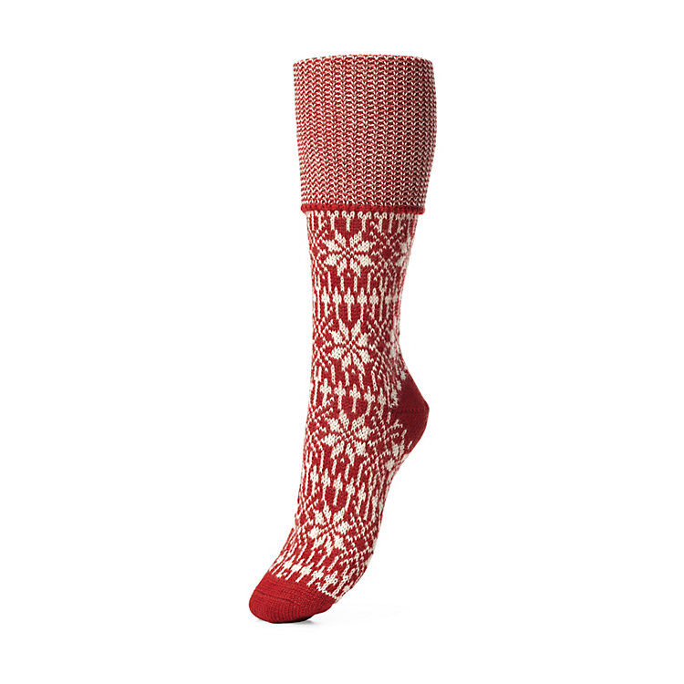 Women's Knee-Length Socks with Jacquard Pattern Red