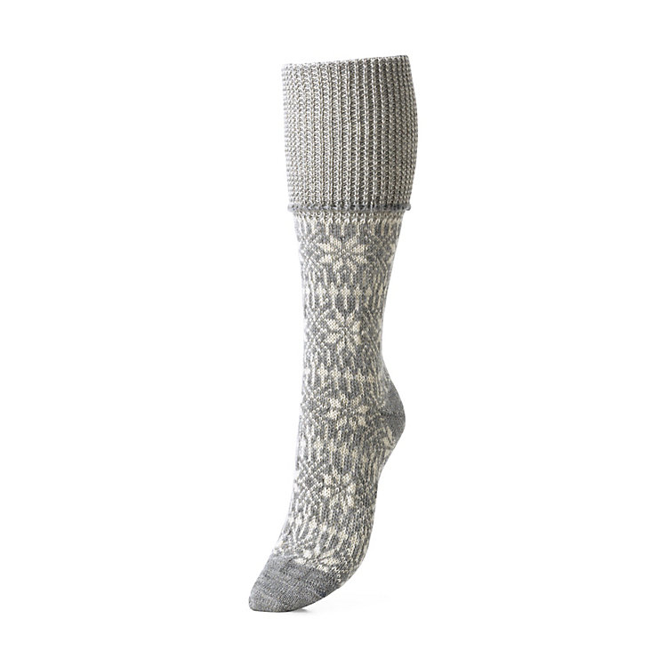Women's Knee-Length Socks with Jacquard Pattern Grey
