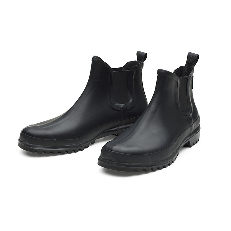 Women's Mixed Natural Rubber Ankle Boots Black