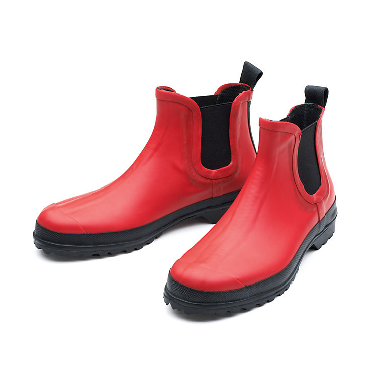 Women's Mixed Natural Rubber Ankle Boots Red