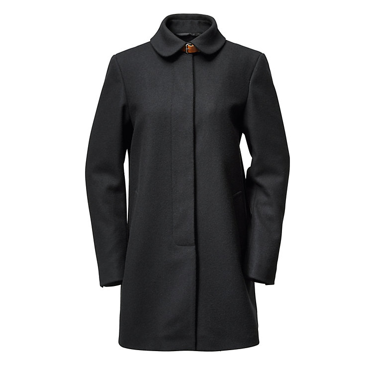 Women's Short Coat Made of Virgin Wool Black